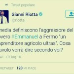 Il tweet di Gianni Riotta dedicato a #Emmanuel